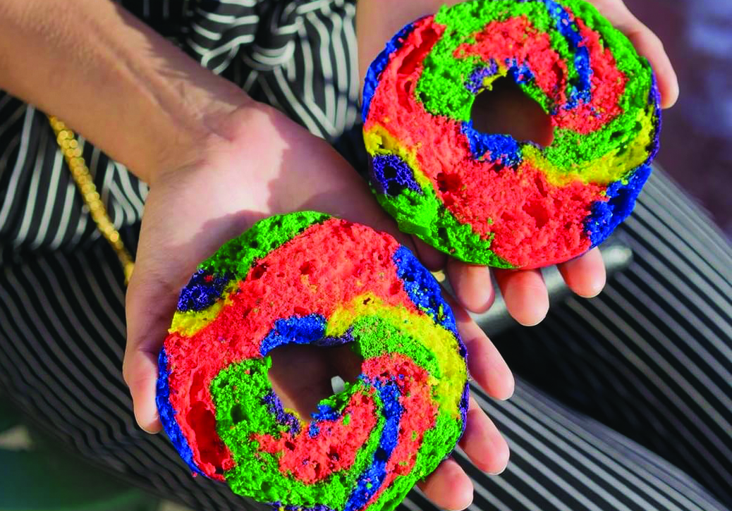 Rainbow bagels for Calgary Pride. Photo courtesy Bagelino's