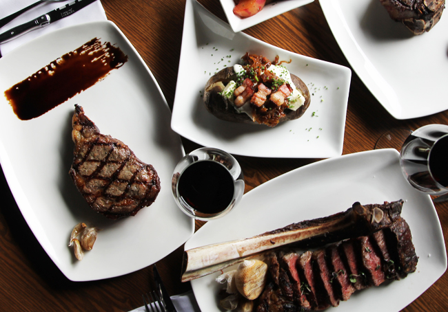 An assortment of dishes from Modern Steak, one of the top 5 steakhouses in Calgary